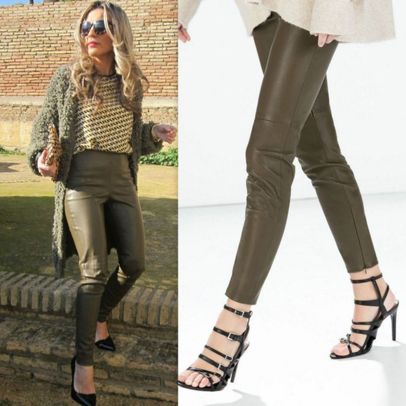 62728106acd28 ZARA OLIVE GREEN FAUX LEATHER TROUSERS **XL. M_5b03985f46aa7c4fb76d077d